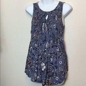Knox Rose Blue Flowered Sleeveless Top